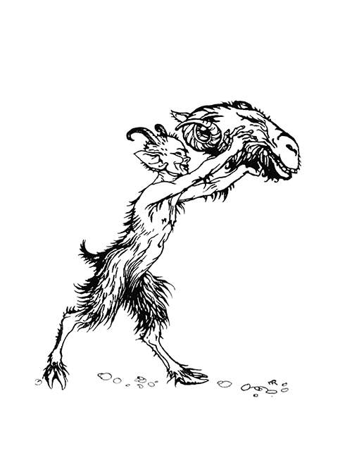 A young and smiling satyr carries a ram's head in his outstretched hands