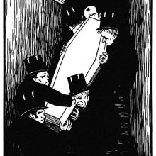 Undertakers are seen carrying a coffin down a flight of stairs