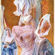 Three women dressed in the medieval fashion are wearing different kinds of hennins