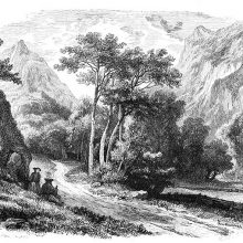 View of the Aosta valley with two travelers on the side of a road and mountains in the background