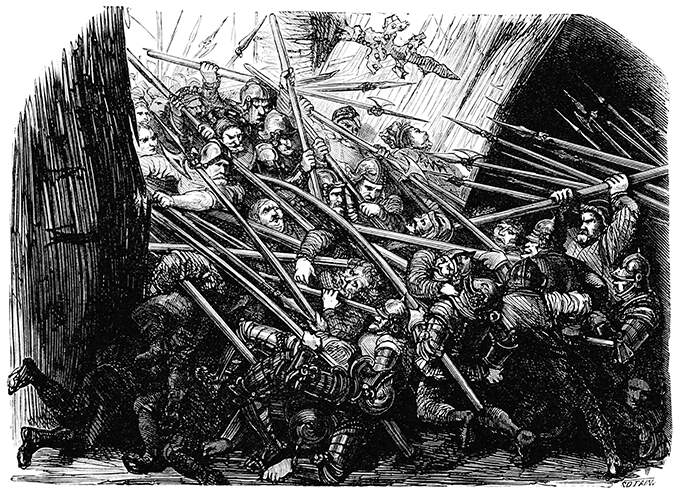 A group of soldiers is breaking through a gate while another group is pushing back from inside