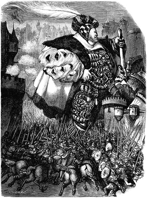 A giant is destroying a castle with his staff as tiny soldiers charge to try to stop him