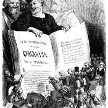 Frontispiece of Œuvres de François Rabelais showing the author holding open a gigantic book