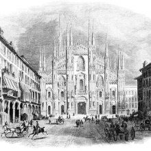 West front of the Milan Cathedral and the square, busy with pedestrians and carriages