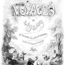 Title page of Voyages en zigzag showing letters decorated with figures and an alpine landscape