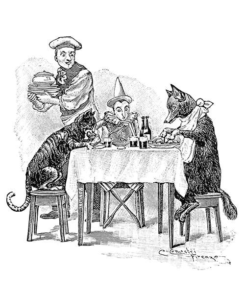 The Cat, Pinocchio, and the Fox are sitting around a table having a meal