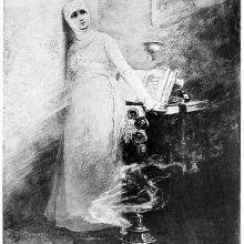 A nun stands in a corner of her cell as a steaming vessel can be seen in front of her