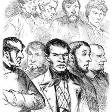 Portrait of nine men presumably standing in the dock and split in two rows
