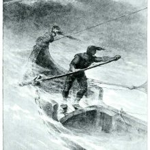 A man steers a boat on a rough sea, standing at the stern