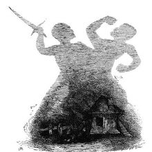 The tall shadows of two men fighting are projected behind a small hut