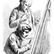A painter is sitting at an easel and working under the supervision of a bald, older man