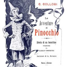 Title page of Le avventure di Pinocchio showing the Fox, the Cat, the Cricket, and Pinocchio