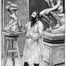 View of Auguste Rodin working in his studio on a clay version of what looks like The Abduction