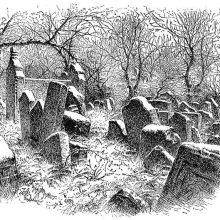 View of a graveyard with leaning headstones randomly arranged and trees in the background