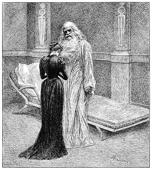 A woman is seen from behind standing humbly before the tall, ghostly figure of an old man