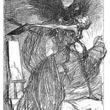 A winged skeleton has seized a painter lying in bed and lifts him up in the air