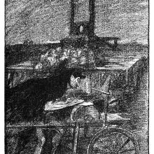 An itinerant grinder is leaning over a grindstone and sharpens a blade at the foot of a guillotine