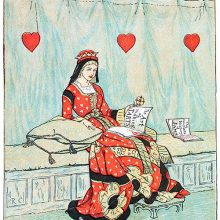 The Queen of Hearts is sitting on a bench leafing through a book titled The Art of Making Tarts