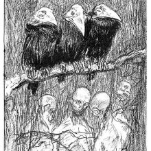 Three crows are perched on a branch from which the bodies of hanged people are dangling