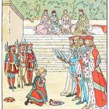 The Knave of Hearts repents on his knees before the four kings holding their swords
