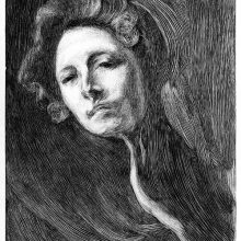 Portrait of a woman seen slightly from below with an inscrutable expression on her face