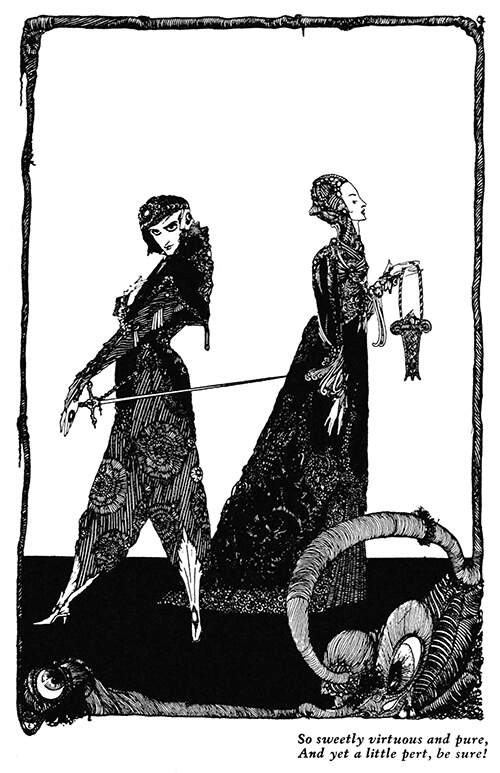A man with a sword and a woman carrying a basket are seen facing opposite directions