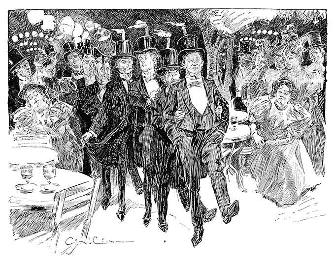 A group of tipsy men walks in a single line between tables with lighted candles on their top hats