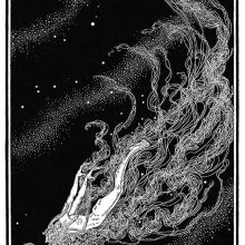 A male figure is flying through the cosmos, his long hair and beard forming like a train
