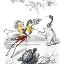 Imaginary creatures such as a tortoise with a dog head are chasing a motley flock of flying animals