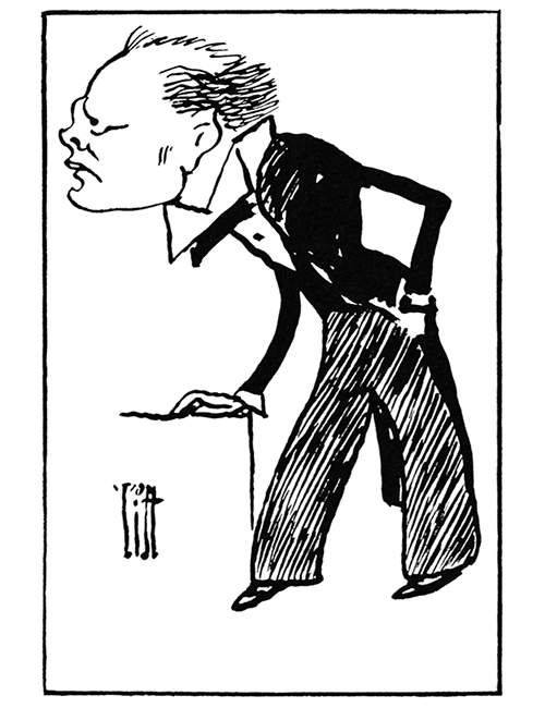 caricature portrait of Winston Churchill seen from the side leaning on a piece of furniture
