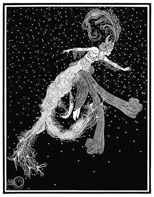 A female creature wearing an elaborate feathered hat is seen floating in the starry sky