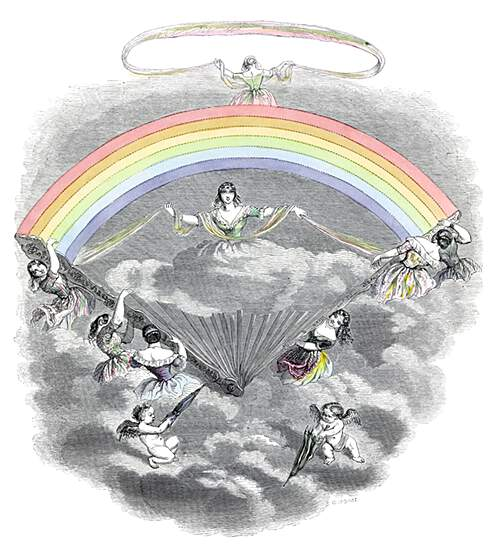 Several women are seen unfolding a rainbow fan in the sky, revealing the figure of Iris on a cloud