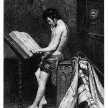 A youth in a loincloth reads a manuscript placed on a lectern ac a painter works in the background