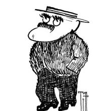 Full-length caricature portrait of Rudyard Kipling seen from a three-quarter angle