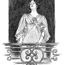A woman with a faint, enigmatic smile is seen from below standing on her balcony
