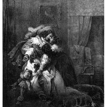 A distraught woman in clasps her arms around the neck of a man holding back a dead body