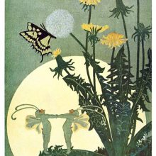 Two insect-like fairies dance holding hands in the moonlight on the leave of blooming dandelion