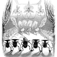 Three crabs are dancing at the back of a stage as beetles with hammers stand in the foreground