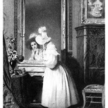 A young woman wearing light colors checks herself in the mirror before going out