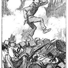 A youth stands on top of a barricade, looking distraught as two dead insurgents lie below him