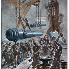 Workers are hammering steel in a factory workshop as cannons are being hoisted around