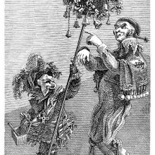 A man and a masked figure holding a basket on a stick are seen wearing fancy clothes