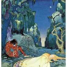 A girl lies asleep on the mossy ground of a forest as her companion is reclining against a tree
