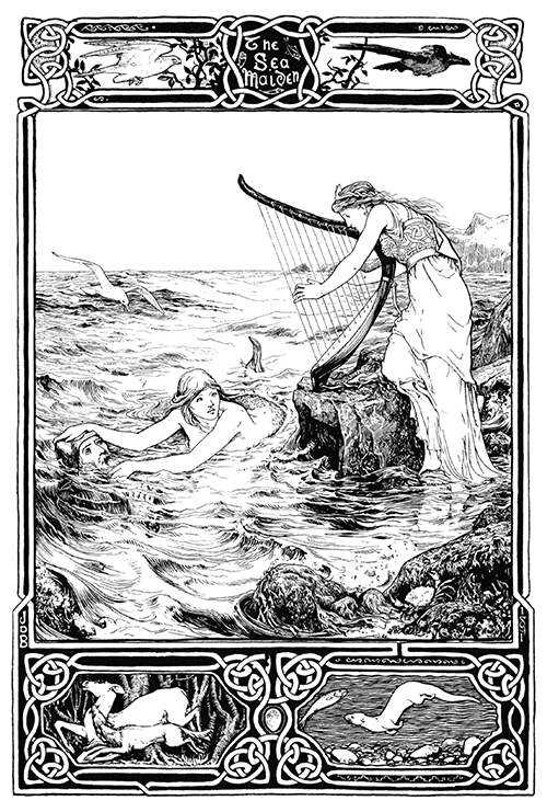 A woman plays the harp on a sea shore as a mermaid takes hold of a man in the water