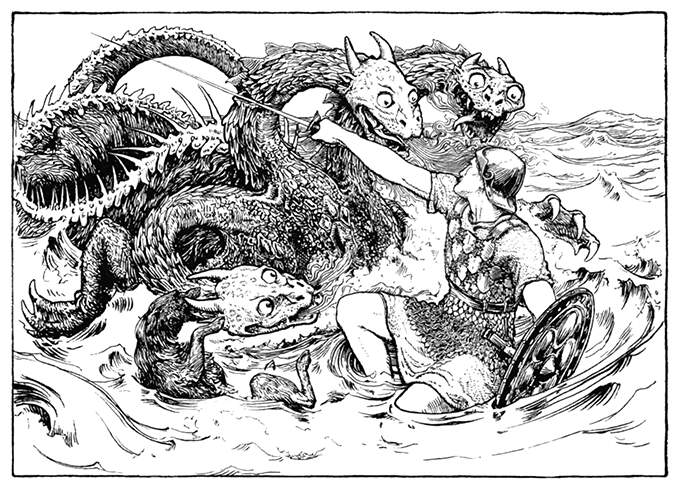 A man armed with a sword and a shield fights a three-headed sea monster