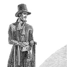 A man in a kilt and a coachman hat and missing both his hands sells boot laces in the street