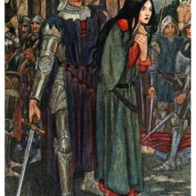 A distraught woman steps forward as a knight in armor stands behind her holding a sword