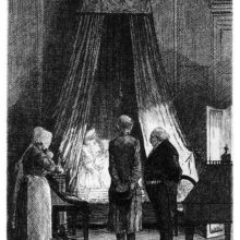 Two men and a woman are standing by the bed of a dying man seen from the side