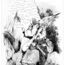 A woman plays on a small harp by a pond as an angel writes the names of composers on a rock