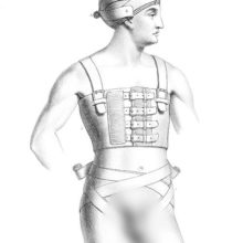 Medical plate showing a man wearing head and groins bandages and a rib belt